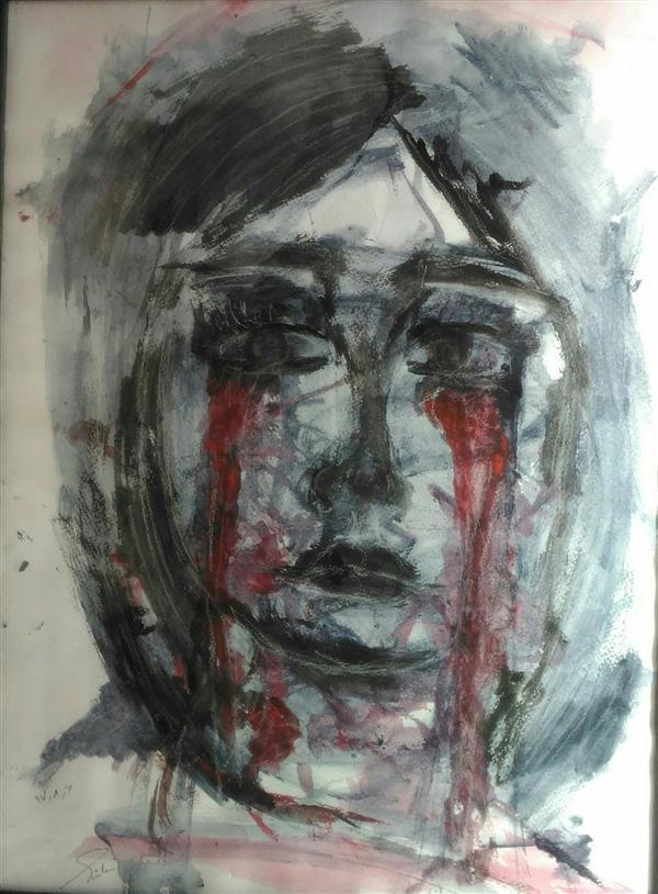 هنر نقاشی و گرافیک محفل نقاشی و گرافیک هدی سادات نوابی #غم در عرض ۲الی ۳ دقیقه کشیده شده و کاملا احساسی بدون هیچگونه رعایت تکنیک.