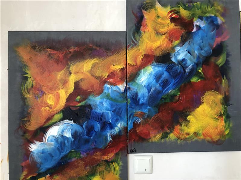 هنر نقاشی و گرافیک محفل نقاشی و گرافیک رویاکارپسند تابلو دوتکه ۷۰*۵۰ #ابستره #اکرولیک