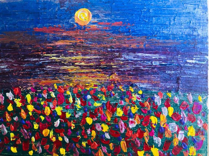هنر نقاشی و گرافیک محفل نقاشی و گرافیک رویاکارپسند گلهای غروب #اکرولیک ۴۰*۳۰