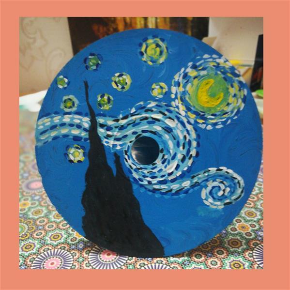 هنر نقاشی و گرافیک محفل نقاشی و گرافیک یلدا غیور  #شب پر #ستاره ونگوگ نقاشی با #گواش روی #cd