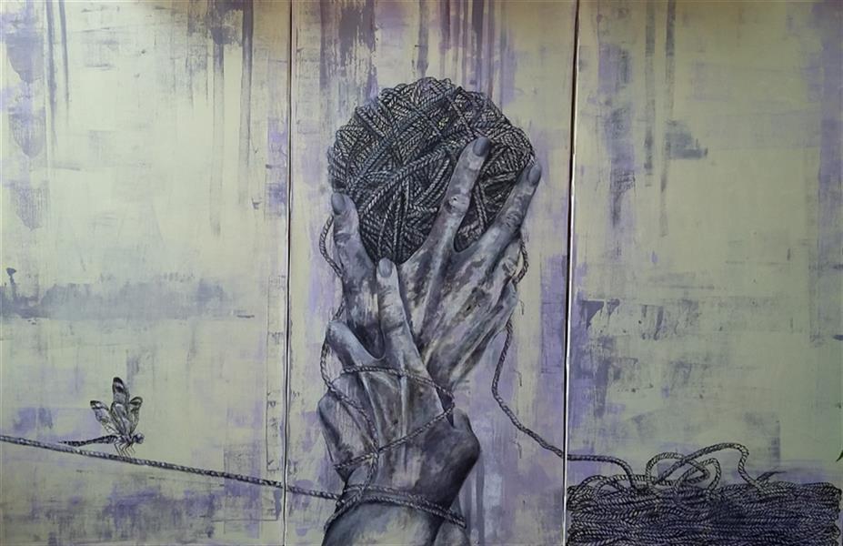 هنر نقاشی و گرافیک محفل نقاشی و گرافیک آنا محمدی #اکرولیک_و_رنگ_روغن_روی_بوم  ابعاد120×80 سه لت