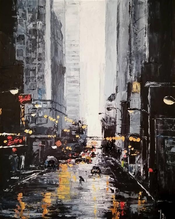 هنر نقاشی و گرافیک محفل نقاشی و گرافیک مینا بختیاری  #painting #paletteknifepainting #paletteknife #paletteknifeart #impressionism #oilcolor #oilpainting #77megapixels #cityphotography #chicago #usa #rain #streetphotography  . #نقاشی_مدرن #رنگ_روغن #کاردک #مقوافابریانو #امپرسیونیسم #باران #خیابان #شهر #شیکاگو #آمریکا #عکاسی_خیابانی