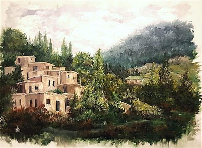 هنر نقاشی و گرافیک محفل نقاشی و گرافیک مینا بختیاری آرامش روستا #کاردک #رنگ_روغن ابعاد 50در70