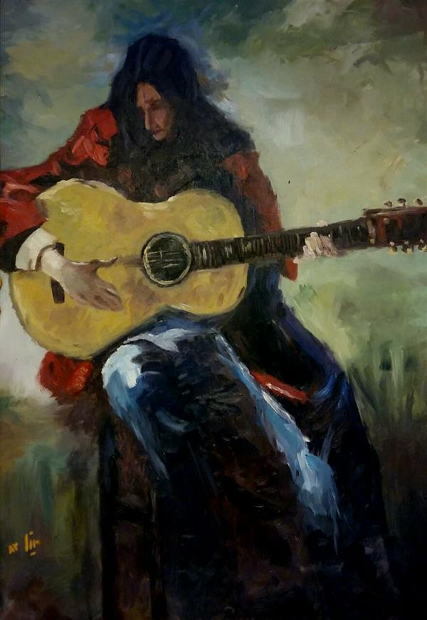 هنر نقاشی و گرافیک محفل نقاشی و گرافیک مینا بختیاری گیتاریست - با قاب #قلم_درشت #رنگ_روغن سایز: 50در70