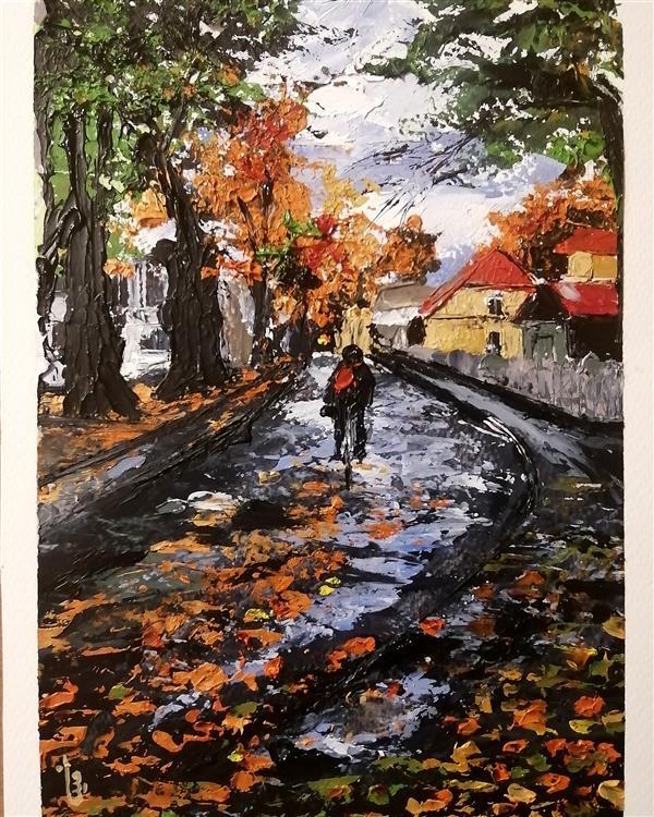 هنر نقاشی و گرافیک محفل نقاشی و گرافیک مینا بختیاری #رنگ_روغن #کاردک روی #مقوای_فابریانو به سبک #امپرسیونیسم ، #اوریجینال، بافت #برجسته #باران #دوچرخه #کوچه #تالین # استونی