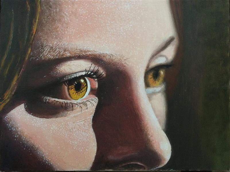 هنر نقاشی و گرافیک محفل نقاشی و گرافیک آرمان هزاریان سایز ۳۰ در ۴۰ رنگ روغن Behind those hazel eyes