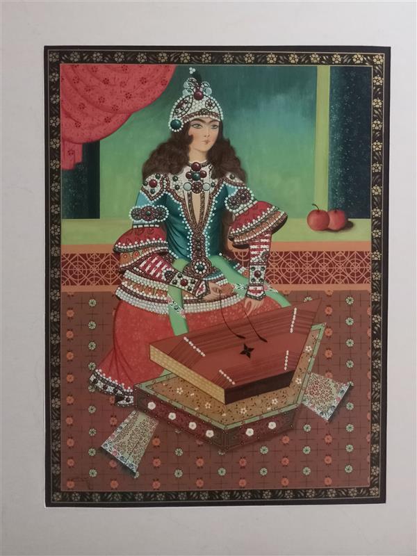 هنر نقاشی و گرافیک محفل نقاشی و گرافیک سمیه جلالیان طرقی  زن نوازنده #سبک قاجار #گواش روی ماکت هلندی#لاکی#۳۱×۴۲#پاسپارتو شده