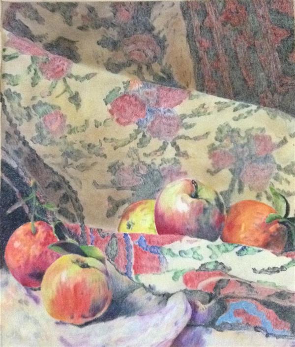هنر نقاشی و گرافیک محفل نقاشی و گرافیک سمیرا اکبری فر #مداد رنگی #نقاشی #میوه #فرش  #pencil #painting #fruit #carpet سایز 50×70