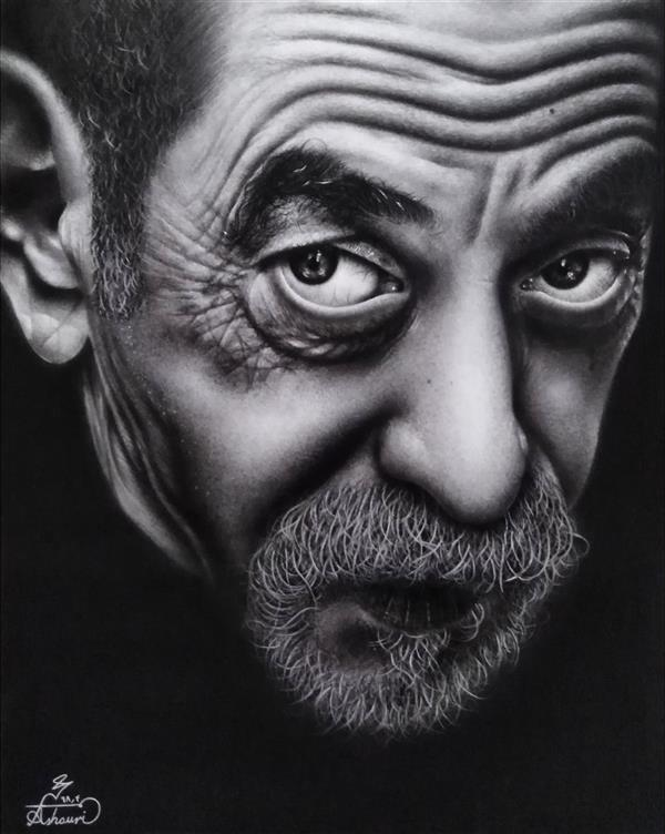 هنر نقاشی و گرافیک محفل نقاشی و گرافیک محمد عاشوری طراحی چهره سبک: فتورئالیسم ابعاد: 40×cm50 تیر ۱۳۹۸ #art #drawing #portrait #photorealism #هنر #طراحی #طراحی_چهره #پرتره #فتورئالیسم