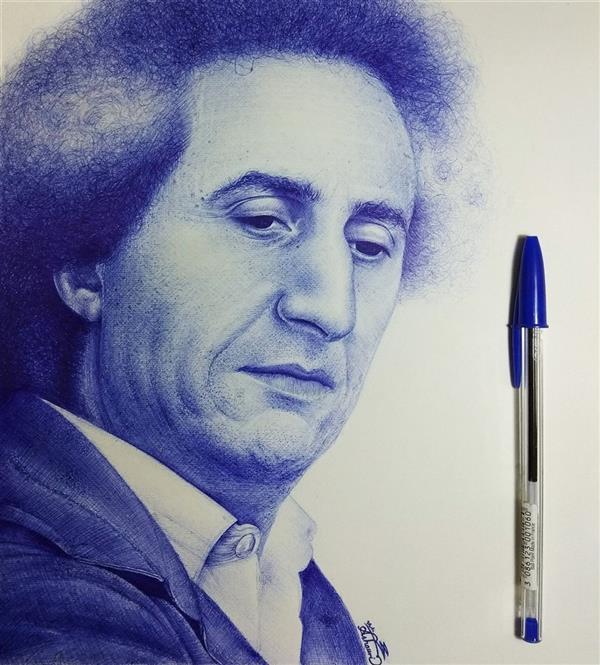 هنر نقاشی و گرافیک محفل نقاشی و گرافیک محمد عاشوری نقاشی چهرهٔ محسن نامجو دی ۱۳۹۸  #portraitpainting #penpainting #bicpen #نقاشی_چهره #نقاشی_با_خودکار #خودکار_بیک