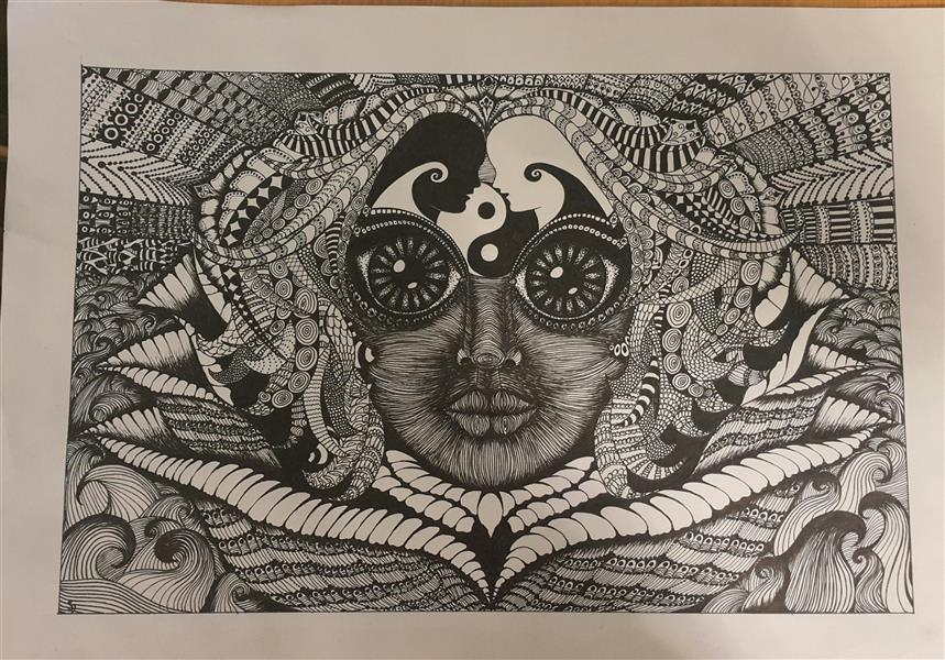 هنر نقاشی و گرافیک محفل نقاشی و گرافیک سالومه شفائی #نام اثر: ذهن زیبا #بافت بصری # راپید ##ذهنی مفهومی#ابعاد A3 #اورجینال