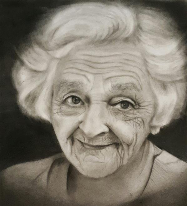 هنر نقاشی و گرافیک محفل نقاشی و گرافیک سالومه شفائی #سیاه قلم #لبخند سپید