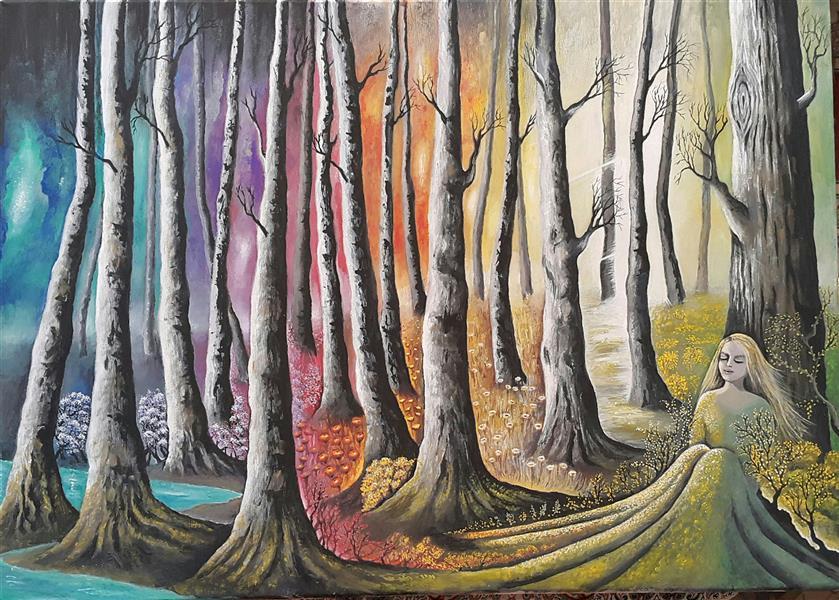 هنر نقاشی و گرافیک محفل نقاشی و گرافیک سالومه شفائی #گواش#ذهنی#بوم 50 در 70#جهان درون#سالومه شفائی#1399 آسمان تیره بود و درختان بی برگ دنیای دورن سرشار بود و پر از رنگ آنقدر لبریز که با بیرون یکی شد.