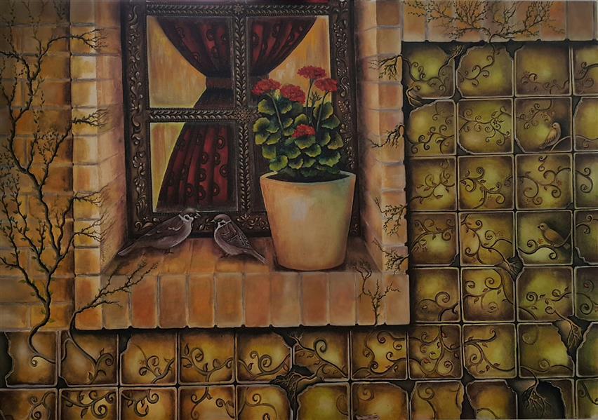 هنر نقاشی و گرافیک محفل نقاشی و گرافیک سالومه شفائی #رویش خاطره #اورجینال#ذهنی#مفهومی #بوم 100 در 70#گواش#سالومه شفائی