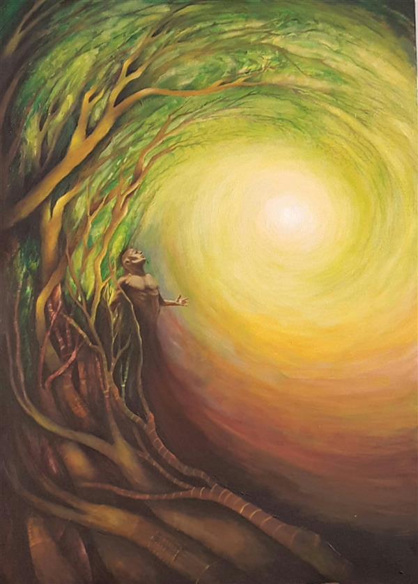 هنر نقاشی و گرافیک محفل نقاشی و گرافیک سالومه شفائی #اورجینال#50 ×70#اکریلیک#از مجموعه : این من،انسان----بیانگر همان مرحله طلب در هفت شهر عشق عطار است. در اینجا  انسان از یک سو نور حق را می طلبد و از سوی دیگر زمینی است و ریشه در خاک و غرایز  دارد.