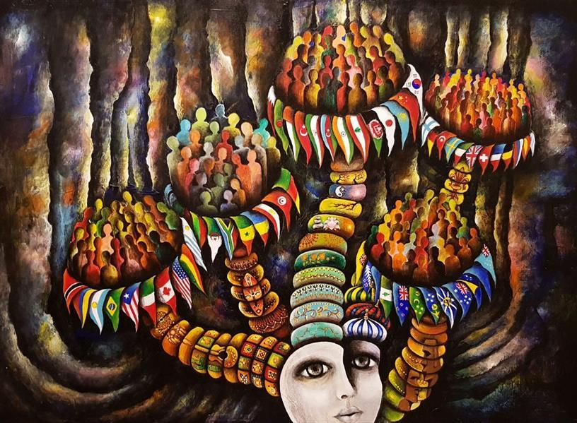 هنر نقاشی و گرافیک محفل نقاشی و گرافیک سالومه شفائی #ازمجموعه این من،انسان #ذهنی#مفهومی#اورجینال #اکریلیک#بوم
