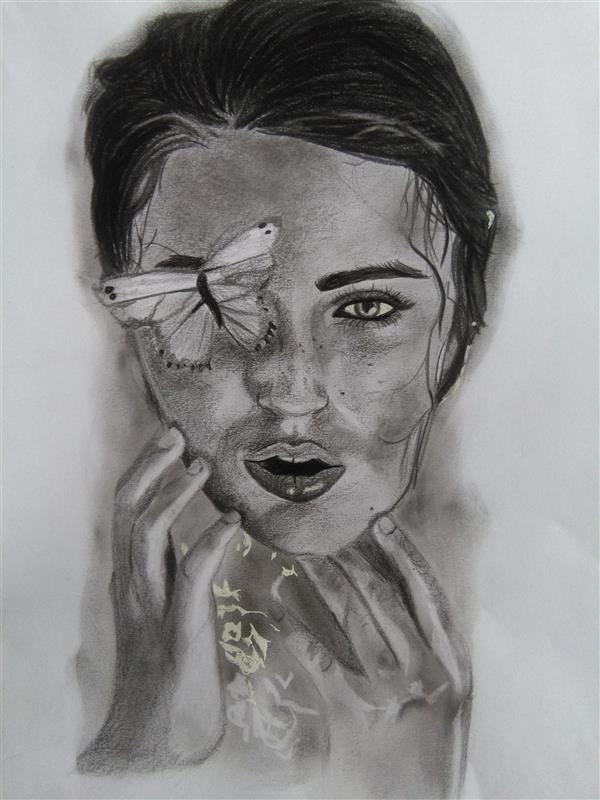 هنر نقاشی و گرافیک محفل نقاشی و گرافیک پریا سیروسی نقاشی پرتره ذهنی با تکنیک سیاه قلم #زیبا#تزیین#سیاه قلم ابعاد:27×27