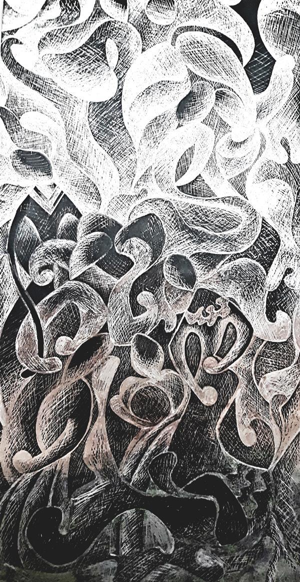 هنر نقاشی و گرافیک محفل نقاشی و گرافیک Sahar - seyf 1. #تصویر-سازی #ذهنی ، #اسکراچ_برد ، زمینه #کاغذ_فویل ، ابعاد 20*40