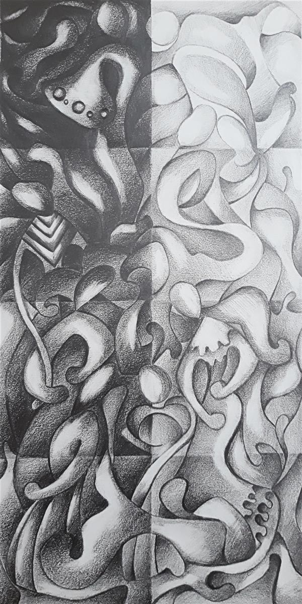 هنر نقاشی و گرافیک محفل نقاشی و گرافیک Sahar - seyf #تصویر_سازی ذهنی، #تنالیته_خاکستری، اجرا #کنتراست با #مداد 6B ، ابعاد 20*40