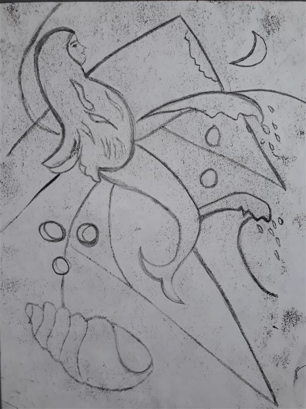 هنر نقاشی و گرافیک محفل نقاشی و گرافیک Sahar - seyf #تصویر_سازی #مونوپرینت #مونوتایپ_خطی، ابعاد A4
