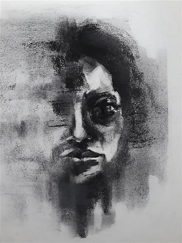 هنر نقاشی و گرافیک محفل نقاشی و گرافیک Sahar - seyf #طراحی #پرتره #زغال سایز حدودا A4