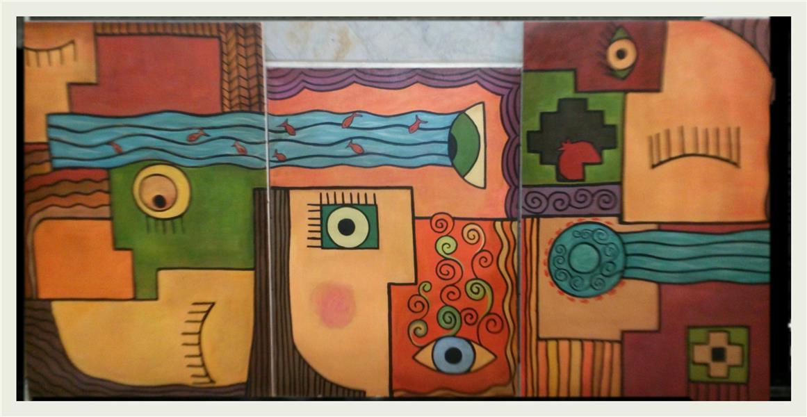 هنر نقاشی و گرافیک محفل نقاشی و گرافیک طاهره امیری اکریلیک، سه لت ۶۰×۹۰