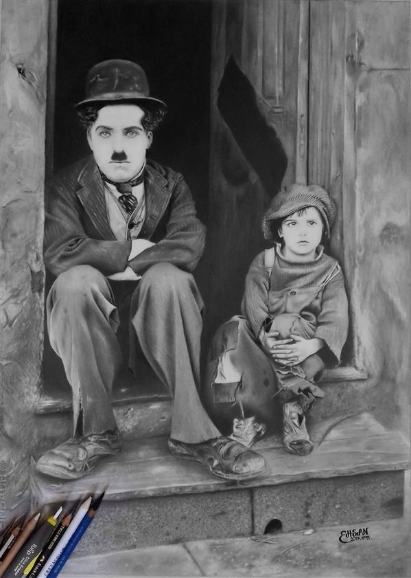هنر نقاشی و گرافیک محفل نقاشی و گرافیک اسمو - ESMO طراحی پرتره چارلی چاپلین (از پوستر فیلم The Kid) تکنیک: مدادگرافیتی ابعاد: 40*50 سانتیمتر  #نقاشی #رئال #فتورئال #هایپررئال #مداد_گرافیتی #پرتره #چارلی_چاپلین #سیاه_قلم  #charlie_chaplin
