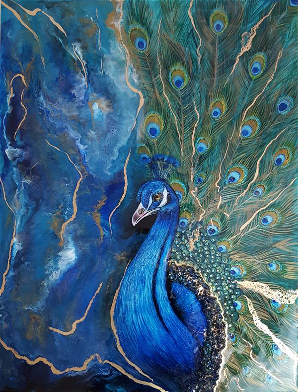 """هنر نقاشی و گرافیک محفل نقاشی و گرافیک Sheida Kuhestani """"طاووس"""" #فلوید_آرت #نقاشی #رزین_اپوکسی بر روی ام دی اف ، ابعاد 60در 80 سانت ، با استفاده از رزین اپوکسی ورنگ اکریلیک واکلیل نقاشی شده است."""