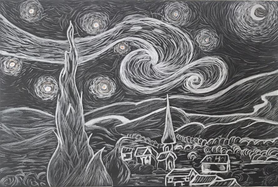 هنر نقاشی و گرافیک محفل نقاشی و گرافیک امید صفاریان  نقاشی کنته روی فوم  شب پر ستاره ونگوگ در ابعاد 40#30