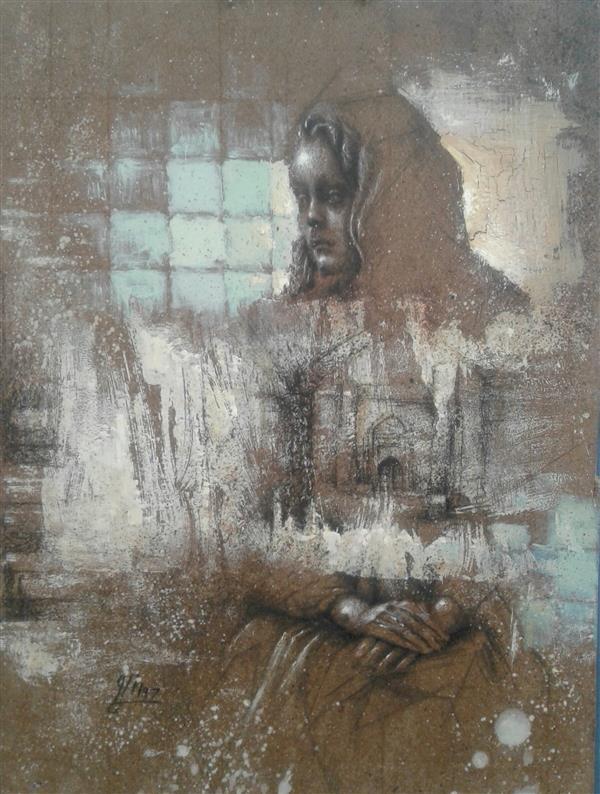 هنر نقاشی و گرافیک محفل نقاشی و گرافیک سیدمحمد نقیب 22*30ترکیب مواد روی چوب ازمجموعه خاطره