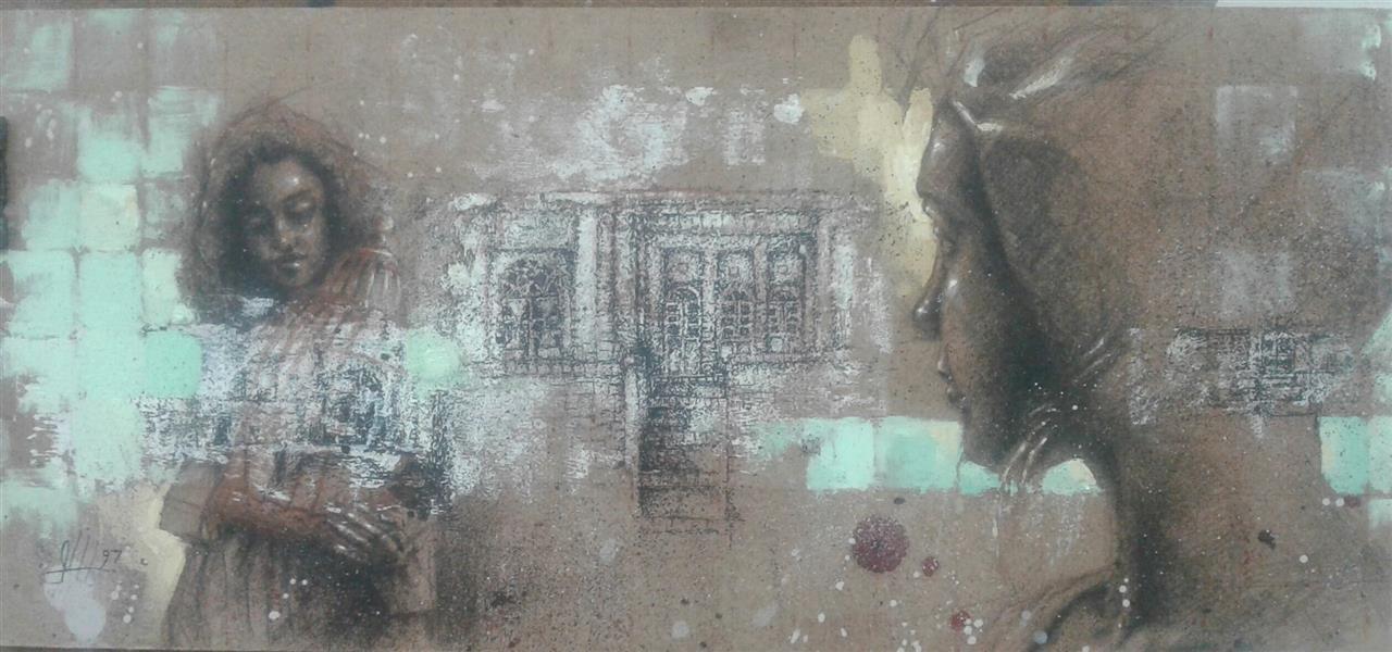 هنر نقاشی و گرافیک محفل نقاشی و گرافیک سیدمحمد نقیب 16*35ترکیب مواد روی چوب ازمجموعه خاطره