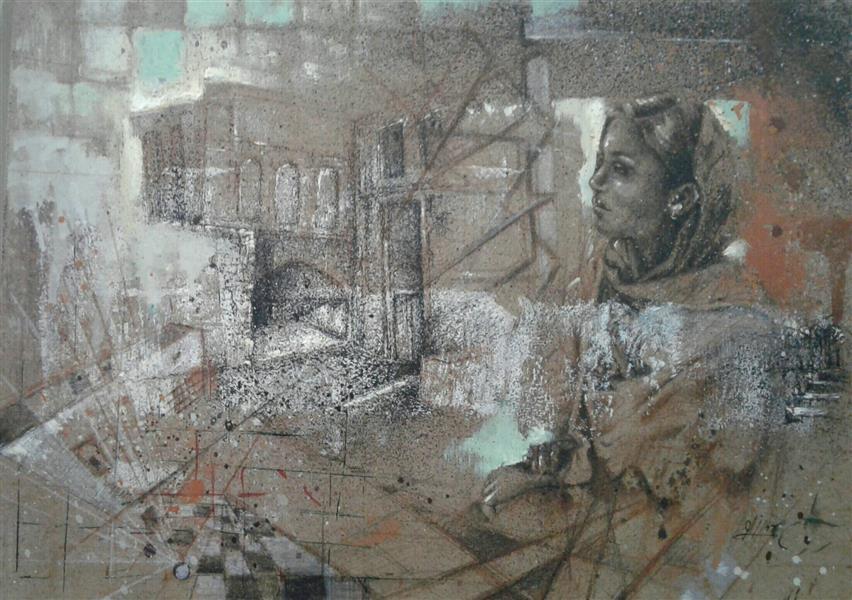 هنر نقاشی و گرافیک محفل نقاشی و گرافیک سیدمحمد نقیب 22*30ترکیب مواد روی چوب ازمجمعه خاطره