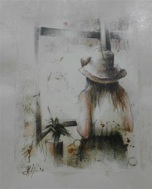هنر نقاشی و گرافیک محفل نقاشی و گرافیک سیدمحمد نقیب 26*31ترکیب مواد روی مقوا