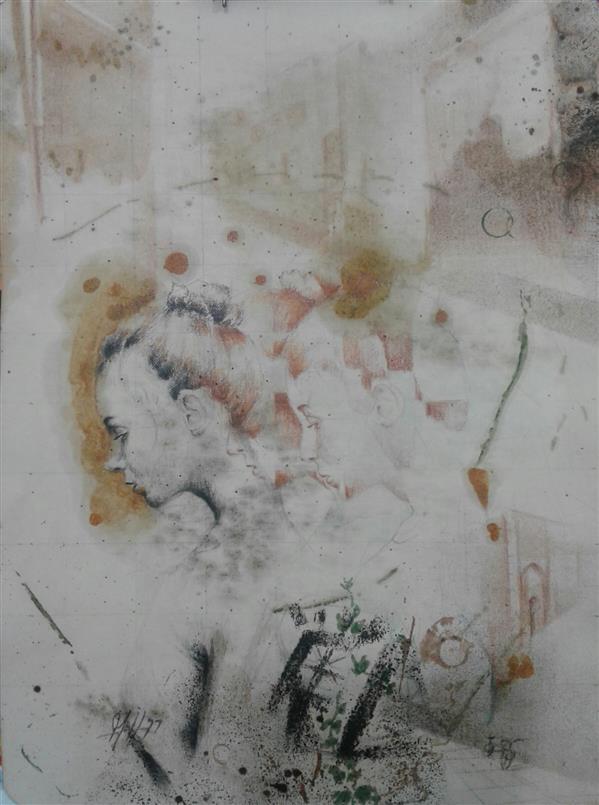 هنر نقاشی و گرافیک محفل نقاشی و گرافیک سیدمحمد نقیب ترکیب مواد روی مقوا اندازه18*24