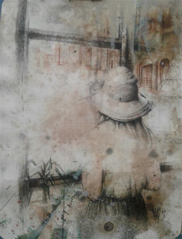 هنر نقاشی و گرافیک محفل نقاشی و گرافیک سیدمحمد نقیب 18*24ترکیب مواد روی مقوا  ازمجموعه خاطره