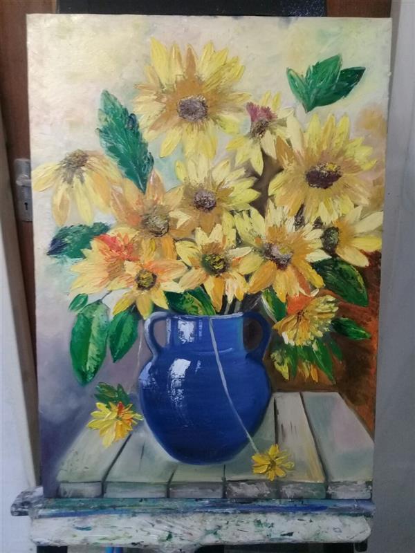 هنر نقاشی و گرافیک محفل نقاشی و گرافیک نوشین پیشوا گل های آفتابگردان ..#امپرسیونیسم..اندازه 50×70.