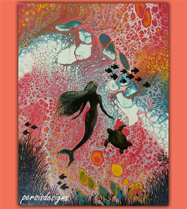 هنر نقاشی و گرافیک محفل نقاشی و گرافیک پرسیس پناهی نام اثر: پری دریایی. ابعاد 40*30. رنگ #اکریلیک روی بوم #آبستره_سلولی #فلویدآرت #پرسیس.