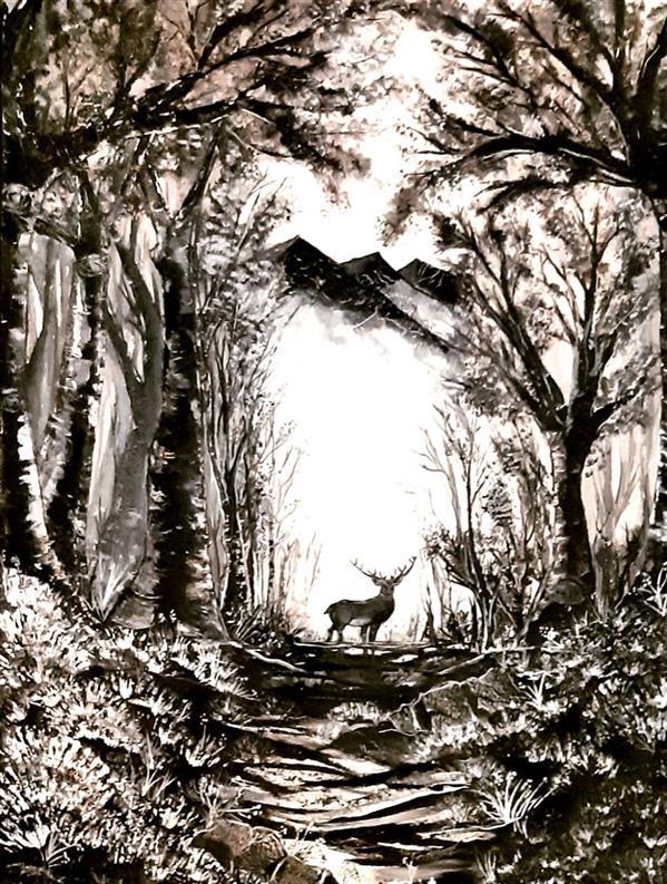 هنر نقاشی و گرافیک محفل نقاشی و گرافیک سیمین نوبهاری تابلو رنگروغن با نام گوزن  قاب شده با رنگ سیاه  بسیار ظریف و زیبا  تم کار سیاه و سفید ۶۵در۹۵سانت