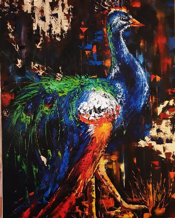 هنر نقاشی و گرافیک محفل نقاشی و گرافیک ارزو زندی کریم خانی طاووس#رنگ روغن#۶۰*۹۰