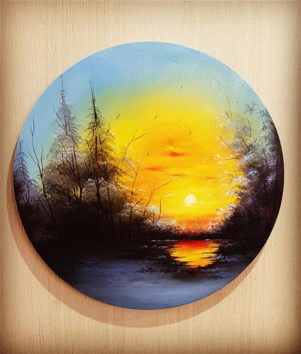 هنر نقاشی و گرافیک محفل نقاشی و گرافیک ارزو زندی کریم خانی #رنگ روغن روی بوم دایره ای شکل به قطر ۴۰ سانتی متر#