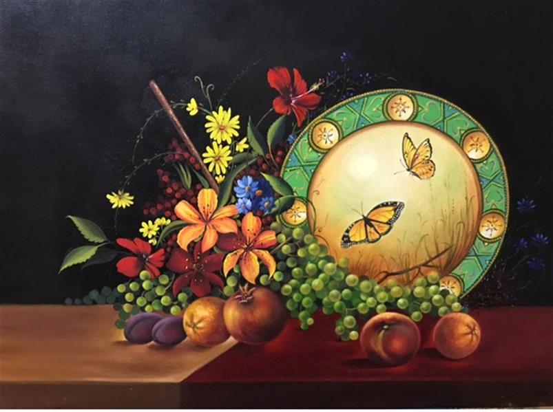 هنر نقاشی و گرافیک محفل نقاشی و گرافیک ارزو زندی کریم خانی رنگ روغن#گل ومیوه#سایز٥٠/٧٠#اورجینال#همراه با قاب