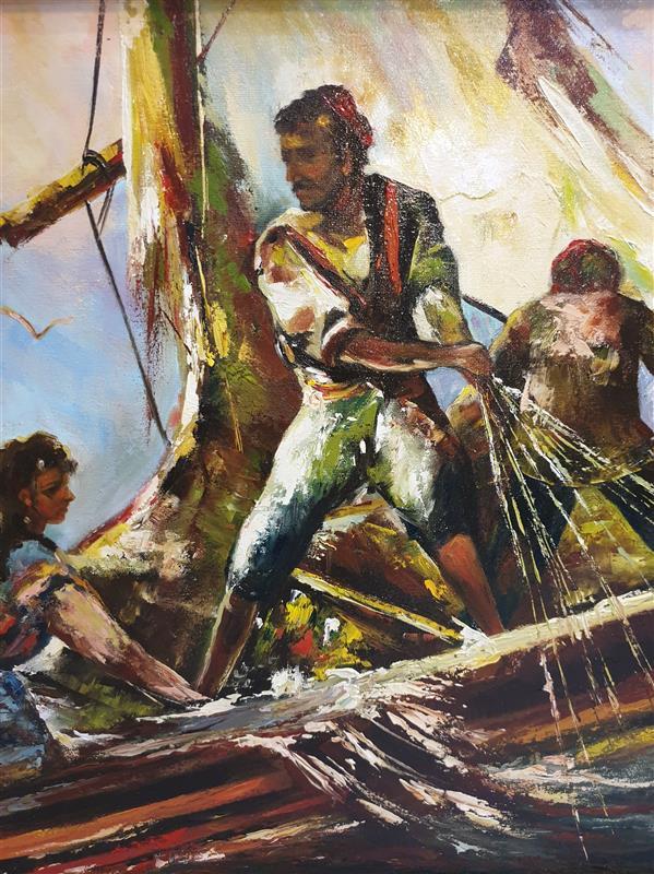 هنر نقاشی و گرافیک محفل نقاشی و گرافیک ارزو زندی کریم خانی رنگ روغن#امپرسیونیسم#۵۰*۷۰#مرد ماهیگیر