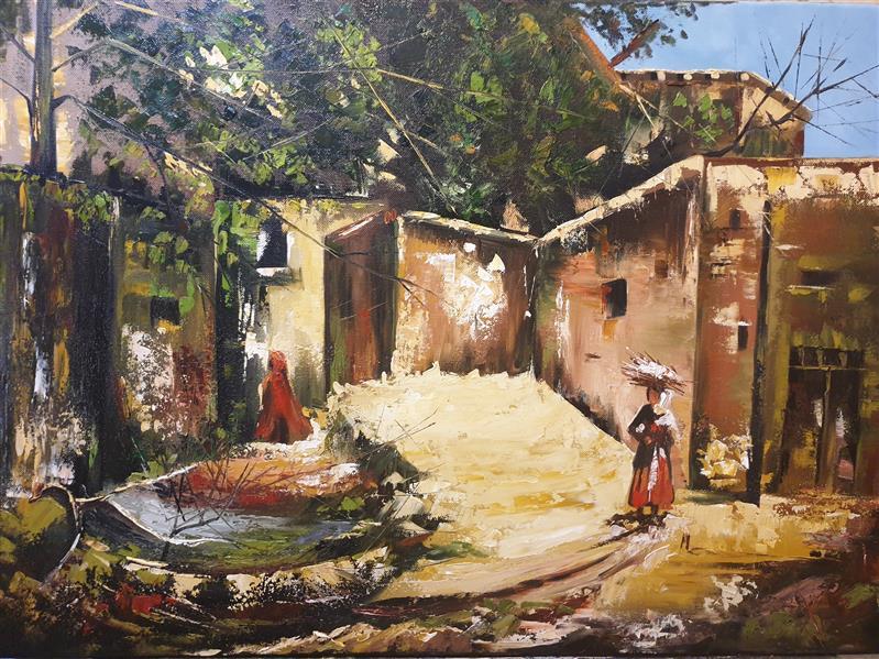 هنر نقاشی و گرافیک محفل نقاشی و گرافیک ارزو زندی کریم خانی رنگ روغن#خانه های روستایی#امپرسیونیسم