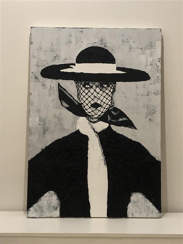 هنر نقاشی و گرافیک محفل نقاشی و گرافیک علیرضا کریمیان #اکلریک برجسته در اندازه ۷۰x  ۱۰۰ کنف و شن برای لباس و کلاه استفاده شده. کپی شده از عکس کاور مجله ووگ ۱۹۵۰، Irving Penn