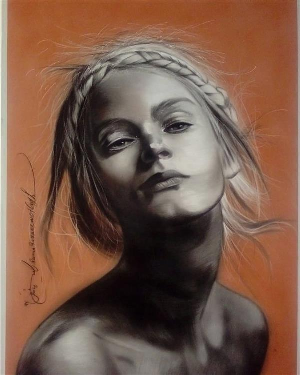 هنر نقاشی و گرافیک محفل نقاشی و گرافیک رامین رضایی مطلق سیاه قلم با پودر کنته  اندازه 50*70 مقوا