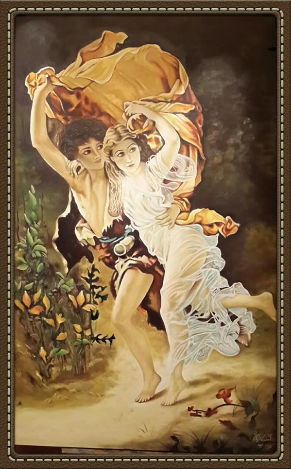 هنر نقاشی و گرافیک محفل نقاشی و گرافیک آمنه کاویانی نام اثر:فرار ابعاد:100×70 تکنیک:رنگ و روغن