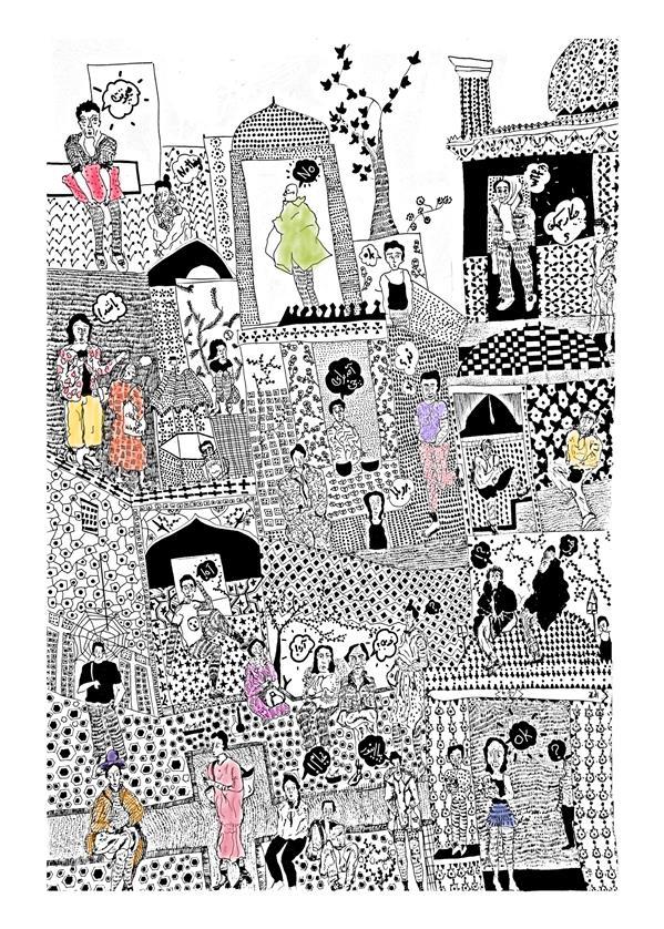 هنر نقاشی و گرافیک محفل نقاشی و گرافیک شادی یوسفی این اثر قاب شده و روی مقوا ۱۰۰x۷۰ کار شده و نگارگری مدرن نشان میدهد و با راپید و مداد رنگی کار شده