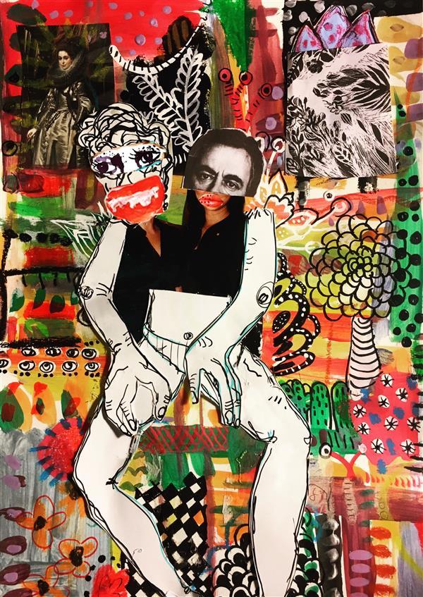 هنر نقاشی و گرافیک محفل نقاشی و گرافیک شادی یوسفی این کار قاب شده و میکس میدیاا هست و اندازش کمی بزرگ تر از a4 هست