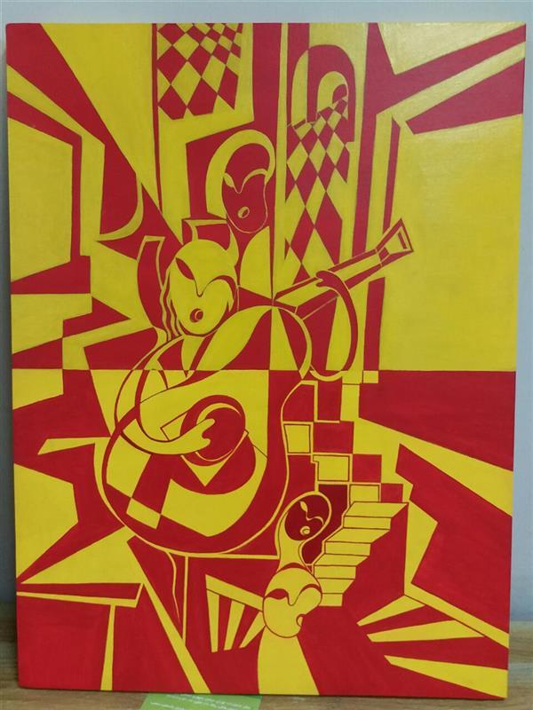 هنر نقاشی و گرافیک محفل نقاشی و گرافیک الهام قاسم پور نام اثر = #آوازه_خوان تکنیک = #اکرلیک روی بوم سبک = #کوبیسم سایز = ۴۵ × ۶۰  زندگی کن ، برقص ، بخوان ، رنگ بزن تمام صفحات زندگی را آنگونه که میخواهی.  در این اثر زنان آواز میخوانند زنانی که در حصار زندگی و جامعه اسیرند ، زنانی که مادران این سرزمینند و در حصار منزلی تنگ اسیرند. در میان شعله های زندگی اسیرند ولی آواز عشق میخوانند و روح انسان را تا بالاترین منزلگه آن جهانی بالا میبرند .