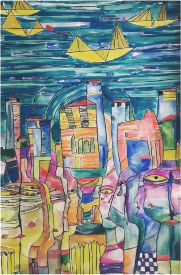 هنر نقاشی و گرافیک محفل نقاشی و گرافیک فاطمه آزادی تابلوی نقاشی انتزاعی با نام. پشت دریاها شهریست. در ابعاد ۵۰در۷۰ و تکنیک آبرنگ